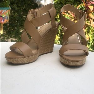 Jessica Simpson tan wedges 8 1/2 New